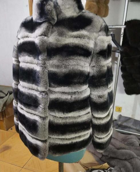 Women Lady Grey Striped Rex-Fur-Coat Stand up Collar Chinchilla Fur Jacket Real Soft Fur Coat Top Overcoat Plus Size Blazer