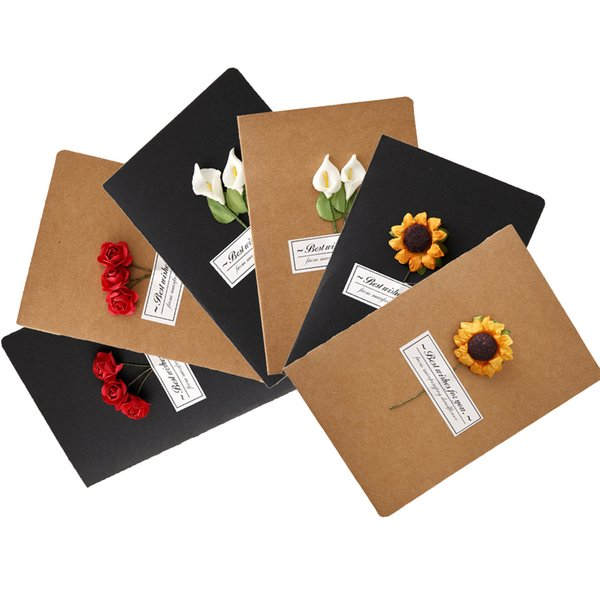 Creative Dry Flower Cards Festival Flower Shop Send Greeting Cards Kraft Paper Retro Literary and Art greeting card Gift