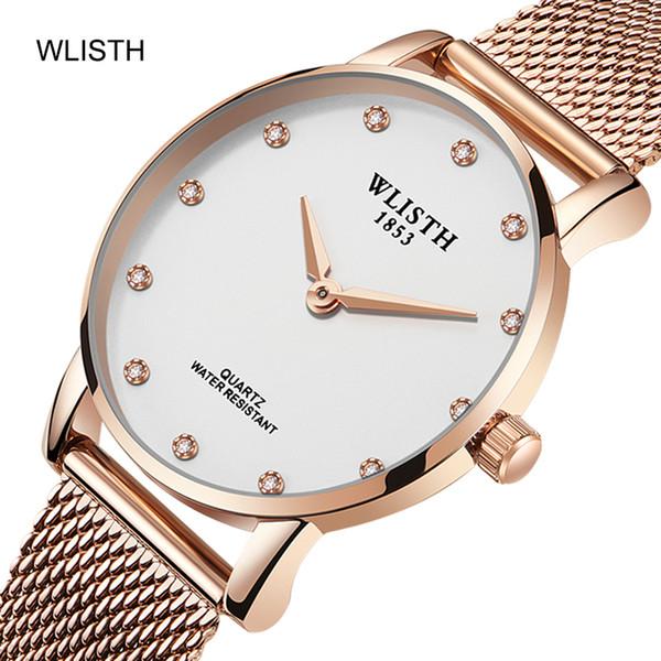 Wlisth 2019 Marke Ultradünnes Luxuxfrauen beobachten Magnet Buckle Models Studenten Trend LadY Quarz Watchsell Hot Creative-Diamant