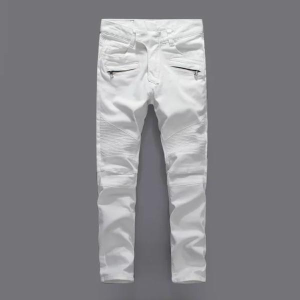 2019 Top Qualität Männer Schlank Weiß zerrissene Löcher Jeans Männer Designer Skinny Denim Hosen Männer Biker Jeans Hosen