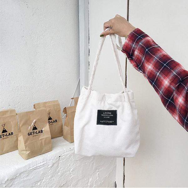 Cheap Women Corduroy Canvas Bag Female Pure Cotton Eco Cloth Crossbody Shoulder Bags Ladies Shopping Bag Pink Handbag Totes For Girls