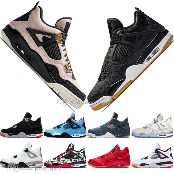Discount Newest Bred 4 4s What The Cactus Jack Laser Wings Mens Basketball Shoes Denim Blue Pale Citron Men Sports Designer Sneakers 5.5-13