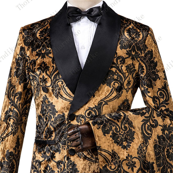 Rich And Royal High Quality Velvet Gold Jacquard Groom Tuxedos Shawl Lapel Groomsmen Mens Suits Blazers (Jacket+Pants+Vest)