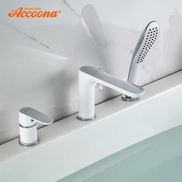 best selling Accoona Bathtub Faucet Waterfall Faucet Bath Tub Mixer Deck Mounted Tub Split Body Bathroom Faucets Mixer Robinet Baig A6519