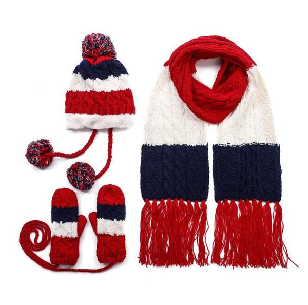 Kadın Sonbahar ve Kış Şapka Yabani Sevimli Öğrenci Örgü Sıcak Şapka Eşarp Eldiven üç parça Artı Peluş Yün Cap