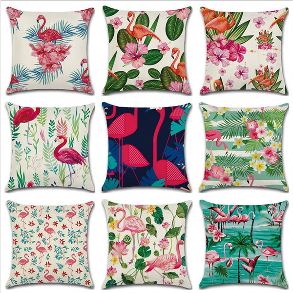 45*45cm Tropical Flamingo Saying Freedom Passion Cushion Cover Linen Throw Pillow Car Home Decoration Decorative Pillowcase Cushions Covers