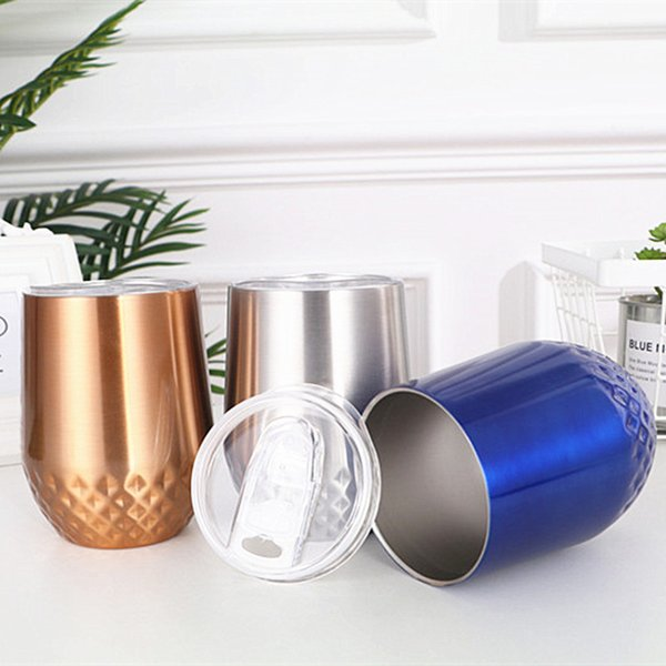 12oz Double Deck Vacuum Egg Cup Stainless Steel Coffee Cups With Cover Golden Silvery Blue Tumbler Hot Sale 22sxD1