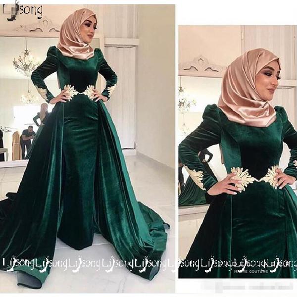 2019 Muslin Islam Haji Women Winter Evening Dress Moslem Velvet Long Sleeve Overskirt Prom Party Wear Elegant Women A-line Formal Maxi Gowns