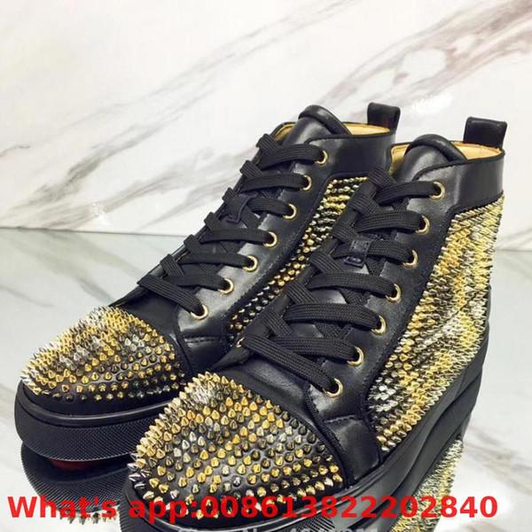 High Top Leisure Lace Up Estampado de leopardo negro Remaches pequeños Parte inferior roja para hombre Zapatos casuales Zapatillas de deporte Mocasines planos de cuero