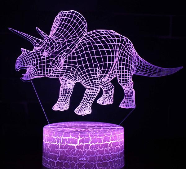 Acheter 3d Veilleuse Dinosaure Triceratops Lampe Optique Illusion Veilleuses Interrupteur Tactile Lampe De Chevet 7 Couleurs Changeante Led Lampes