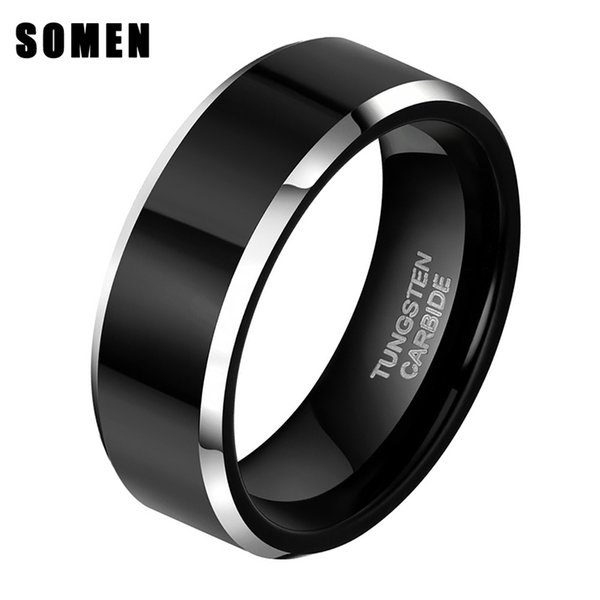Fashion Jewelry Rings Somen 8mm Black Tungsten Carbide Ring Polished Flat For Men Wedding Band Engagement Rings Mens Jewelry anillo hombre