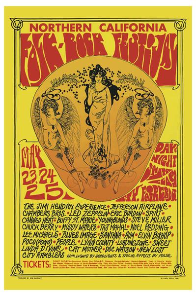 Jimi Hendrix Led Zeppelin beim Folk-Rock Festival Konzert Art Silk Poster 24x36 Zoll 24x43 Zoll
