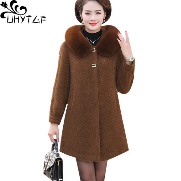UHYTGF осень зима пальто женские качества норка шерстяные куртки меховой воротник с капюшоном Элегантные пальто женщин случайный плюс размер верхней женской 660