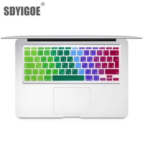 For Mac Book inch Russian Colorful keyboard film EU Silicone Keyboard Protector Cover For air11.6 A1465 A1370 RU