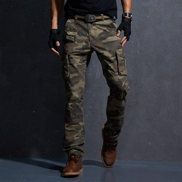 2018 Bahar Askeri Kargo Taktik Pantolon Pamuk Rahat Kamuflaj Pantolon Erkekler Pantalon Homme Y19042201