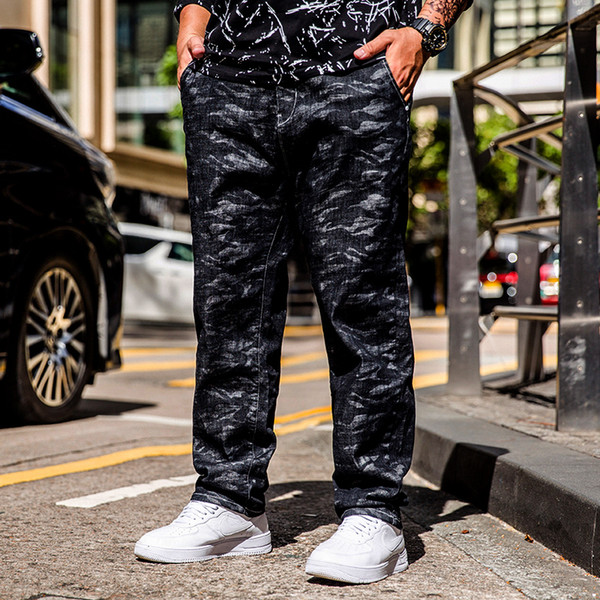 Plus Size 30-44 46 2019 Moda Hip Hop Remendo Men Retro Jeans Camuflagem Stretch Jeans Homens Soltos Magro Rasgado Rasgado Calças Jeans