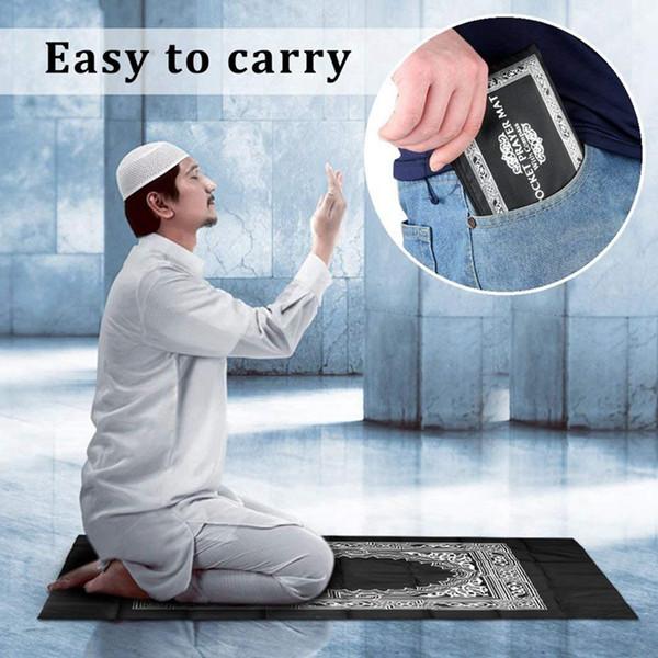 Mat Blanket Prayer With Compass In Bag Portable Waterproof Prayer Blanket Muslim Pocket Oxford Cloth