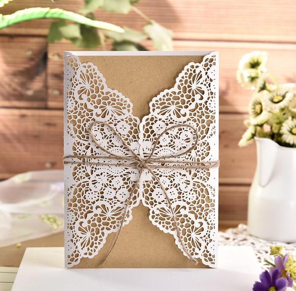 Işıltılı Düğün Davet Lazer kart altın dantel davetiye kraft kağıt kenevir halat düğün kartı A477 tebrik davetiye tatil kesip