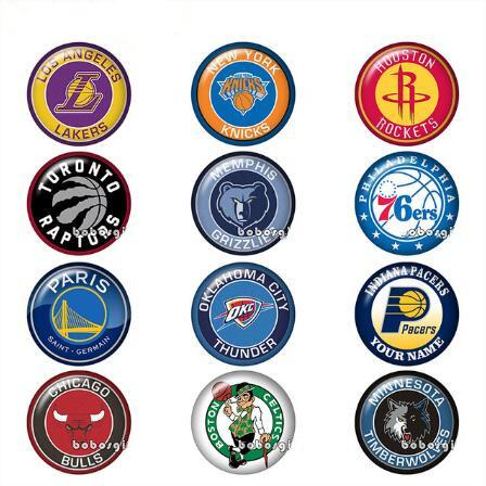 Hot!American Men's Basketball Sports Logos Glass Snap Button Jewelry DIY Round Photo Cabochons Flat Back TW1147 Jewelry Findings Wholsale