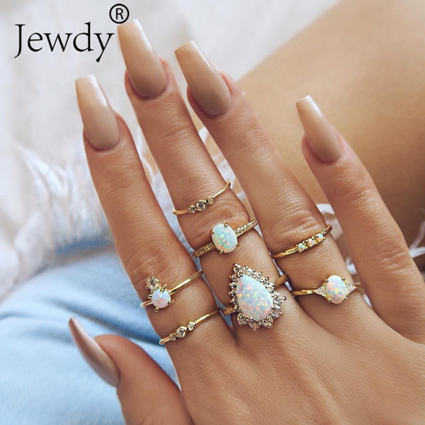 7 Pcs/set Gold Color Opal Flower Rings Set For Women White Crystal Carved Geometric Knuckle Midi Ring Set Anillos Femme