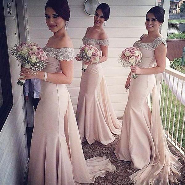 Blush Pink gasa vestido de dama de honor sirena largo fuera del hombro Sexy abalorios cristal formales vestidos de fiesta de boda de noche