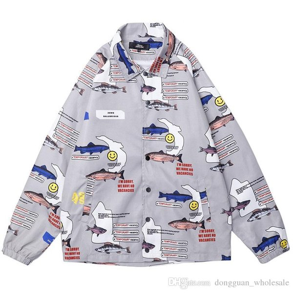 2019 Mens Hip Hop Jacket Windbreaker Streetwear Environmental Protection Harajuku Jacket Coat Autumn Track Jackets Fish Print