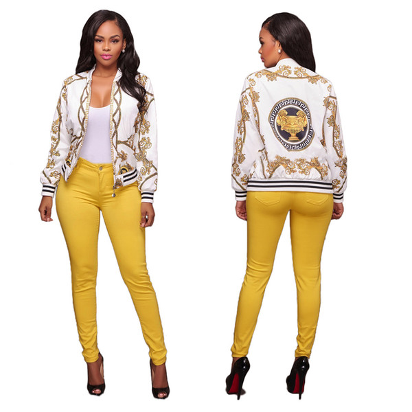 2019 Spring New Sexy Indie Folk Womens Jacket Coat Dashiki Africano stampato Casual giacca bomber S M L XL