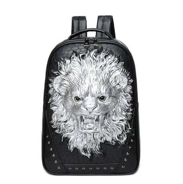 wholesale brand personality 3D stereo package of high quality leather backpack punk man Lion Travel Backpack stereo lion cool schoolbag