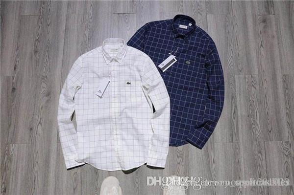 19ss Yeni timsah nakış Ekose Oxford Bluz Tee Gömlek Kadın Erkek Rahat Moda Tişörtü Streetwear Açık T-Shirt