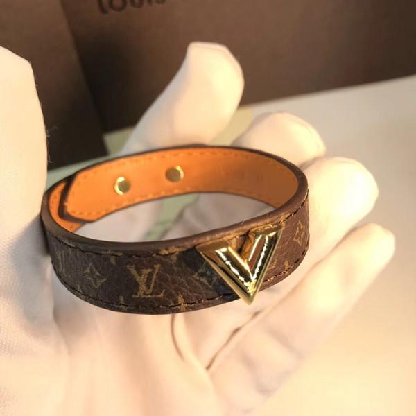Vente chaude Bracelet Bracelets en cuir véritable dans 23cm longueur Bijoux À La Mode Pour Femmes et homme V bracelet cadeau drop shipping PS5252A