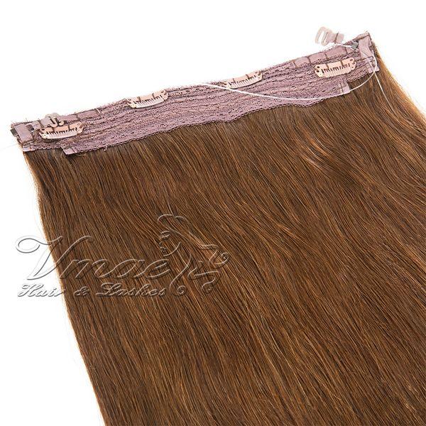 Brésilien Straight Flip Dans Extensions de cheveux Halo Cheveux 12 - 30 pouces 1Pcs Ensemble 120g 140g 160g Halo Extensions de cheveux humains vierges non remy