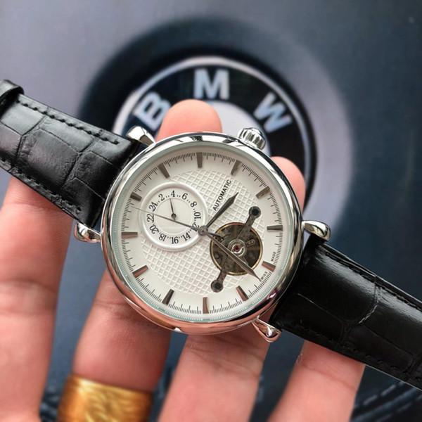 Orologio di lusso Mens Designer Brand Vera pelle Automatic Tourbillon Uomo Business Watch di alta qualità Piccoli quadranti Opere Relógios El Reloj