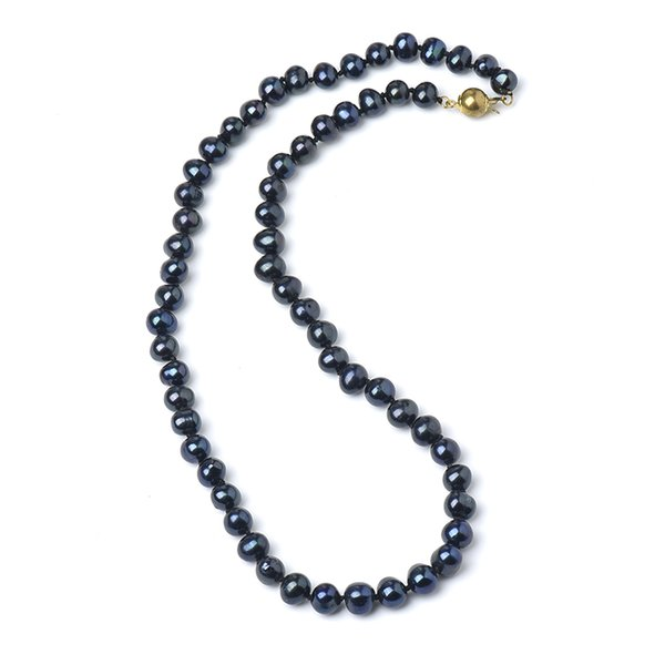 7-8 mm Pure Black Near Spherical freshwater Customization 7-8 MM Pure Natural Chain Type Necklace