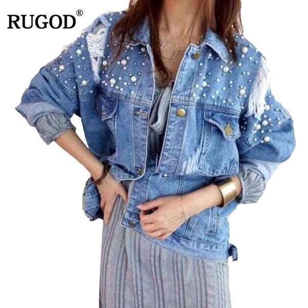 RUGOD 2018 Elegante Perlen Zerrissenes Loch Cowboy Jeans Jacke Frauen Langarm Bomber Jacken Casual Frühling Denim Jacken Befree
