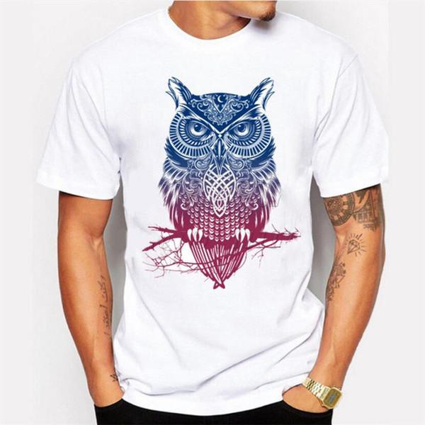 Fashion Short Sleeve Owl Printed Men Tshirt Cool Funny Men's Tee Shirts Tops White Black Grey Red Trousers RETRO VINTAGE Classic T-sh