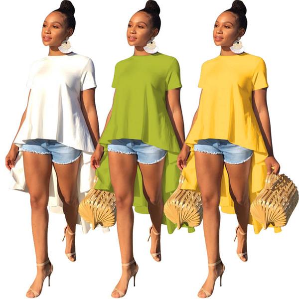 Été designer femmes été Hi-Lo robe manches courtes jupes asymétriques sexy robes décontractées, plus la taille s-xl vêtements couleur pure