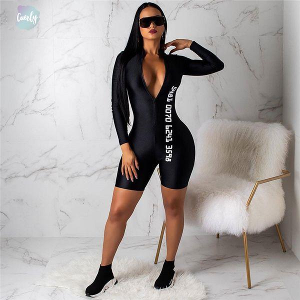 Nero aderente sexy tuta per le donne a maniche lunghe Fitness pagliaccetti delle donne tuta Pantaloncini femminile Streetwear Playsuit Donne