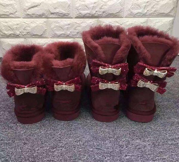 Nuevas botas para la nieve Arco nudo de diamantes de agua clásico de alta calidad en simples o diamantes doble corona gruesas botas de cuero de vaca