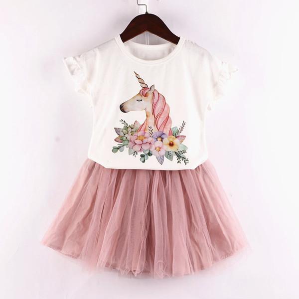 Unicórnio Roupa Da Menina Dos Miúdos Dos Desenhos Animados Branco camiseta + rosa Tulle Princesa roupas set 2 pcs 2019 Crianças de Verão amor 2-6A
