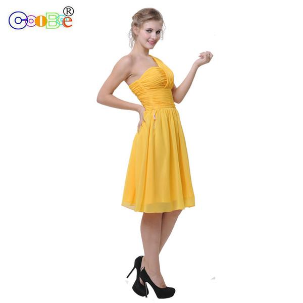 Compre Vestido De Dama De Honor Corto Elegante Con Un Hombro Plisado Una Línea Vestido De Fiesta De Boda Vestido De Dama De Honor Corto