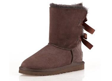 Hot bottes d'hiver de haut Vente classique en cuir véritable Bailey bowknot bottes de neige arc bailey femmes chaussures 8 boot #