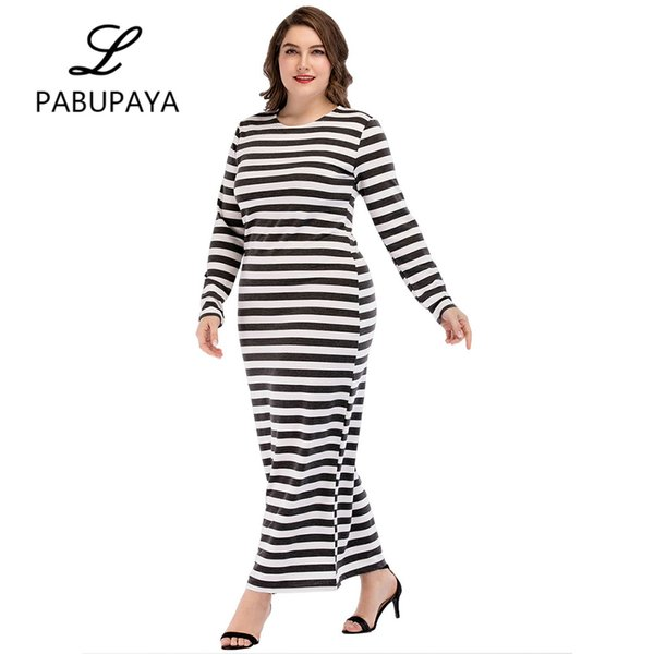 Casual Long Sleeve Muslims Striped Slim Fit Dresses Abaya Maxi Robe Dress Round Neck Middle East Long Maxi Gown Arab Daily Robes