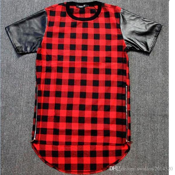 Tyga Red Blue Plaid Golden Zip Men/women Hip Hop Swag Extended Lengthen Leather T-shirt Oversized Men T Shirt Cool Tee