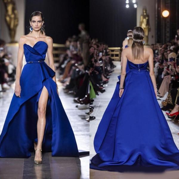 2019 Royal Blue Prom Dresses Strapless Thigh High Slits Dubai Ruffles Zuhair Murad Evening Dress robes de soirée Sexy Designer Dresses