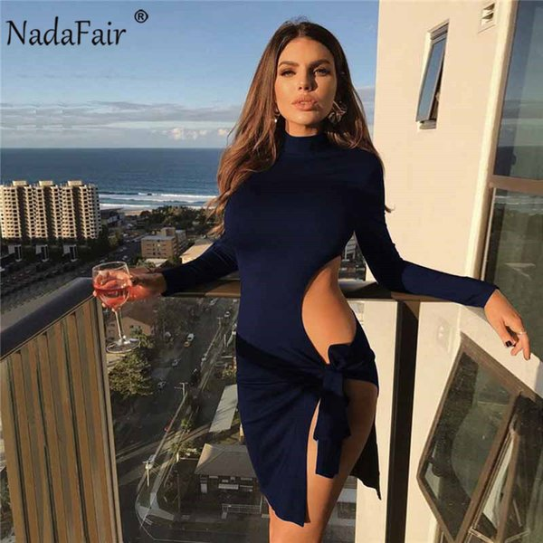Nadafair High Split Club Sexy Dress Women Long Sleeve Turtleneck Mini Party Dress Hollow Out Lace Up Solid Wrap Bodycon Dress Y19053001