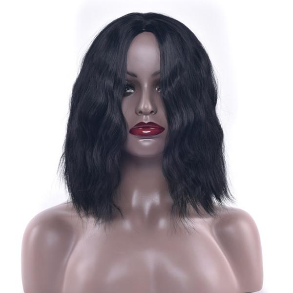 Rose Net Wig Mid-point Short Corn Curls Chemical Fiber Hair Black Short Popular Wig Headgear jooyoo