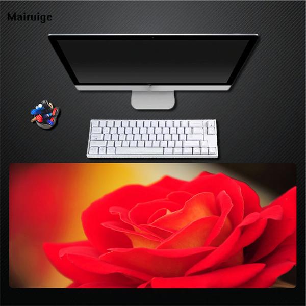 Mairuige Große Größe Druck Wunderschöne Rosa Rose Mauspad Computerspiel Zubehör Mauspad Desktop Rutschfeste Spiel Geschwindigkeit