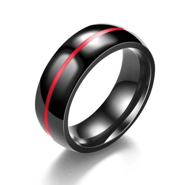gioielli di design anelli in acciaio al titanio linea rossa linee blu banda nera per gli uomini moda calda