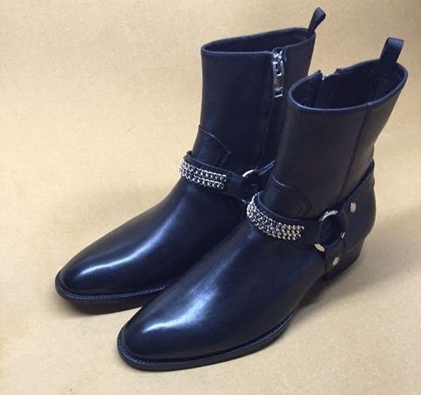 Top Fashion Stivaletti classici in camoscio da uomo Stage Walk Show Stivali da moto Street Fashion Low Heel Men Shoes