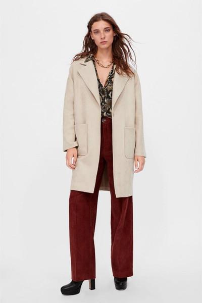 2019 neue Frauen Langarm Umlegekragen Outwear Jacke Wollmischung Mantel Lässig Herbst Winter Elegante Mantel Lose